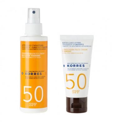 Korres Αντηλιακό Γαλάκτωμα Σώματος SPF50 & Αντηλιακή Κρέμα Προσώπου SPF50 Δώρο  by Korres