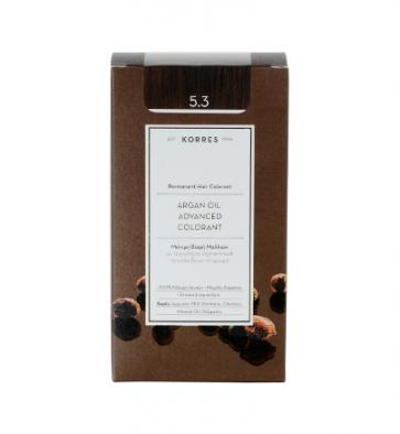 Korres Argan Oil Advanced Colorant 5.3 Καστανό Ανοικτό Χρυσό/Μελί by Korres