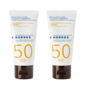 Korres Αντηλιακή Κρέμα Προσώπου Γιαούρτι SPF50 & Άλλη Μια Συσκευασία Δώρο